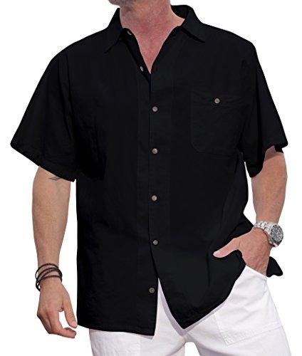 Black Casual Shirt (M&B USA Cotton White Short-Sleeve Casual Lightweight Button Down Shirt (X-Large, Black))