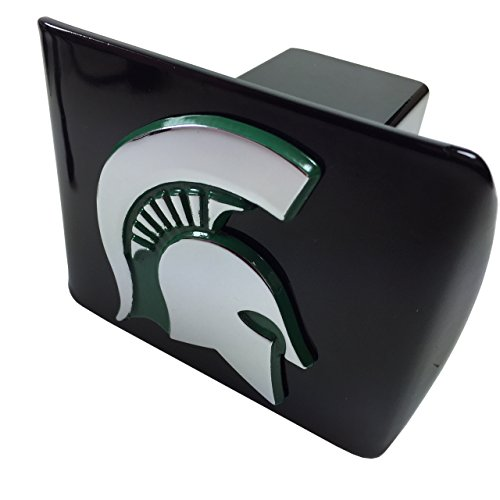 (AMG Michigan State University Metal Emblem (Chrome with Green Trim) on Black Metal Hitch Cover)
