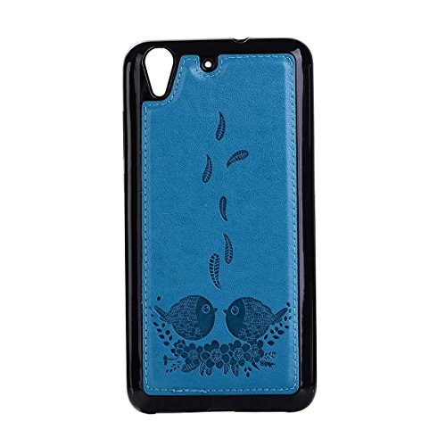 Embossing Bird Pattern PU Ledertasche mit abnehmbarem Back Cover, Flip Stand Wllet Tasche mit Lanyard & Card Slots für Huawei Y6 II (2. Generation) ( Color : Rosegold ) Blue