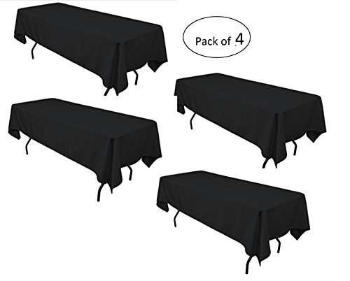 LinenTablecloth 60 x 102-Inch Rectangular Polyester Tablecloth Black (Pack of - Side Tablecloth 4
