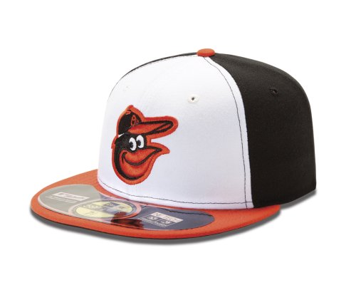 MLB Baltimore Orioles Home AC On Field 59Fifty Fitted Cap, White, 7