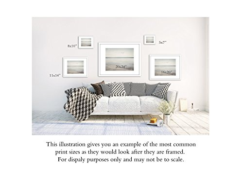 Contemporary Home Decor Blue Green Wall Art Print, Seascape Photo with Inspirational Quote