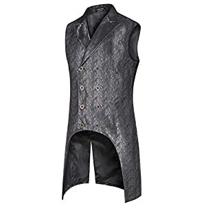 COOFANDY Men's Gothic Steampunk Vest Double Breasted Jacquard Brocade Vest Waistcoat Sleeveless Tailcoat