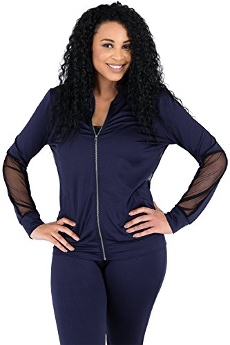 Poetic Justice Curvy Womens Navy Zip Up Activewear Tracksuit Jacket Sheer Panels Size XL