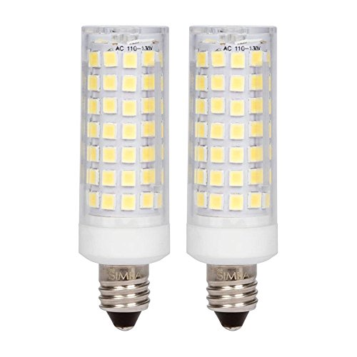 [2 Pack] Simba Lighting LED E11 T4 6W 600lm 90SMD2835 Corn Light Bulb 50W-60W Halogen Replacement 120V for Chandeliers, Pendants, Table Lamps, Mini-Candelabra Base, JD 110V, Daylight 6000K Dimmable