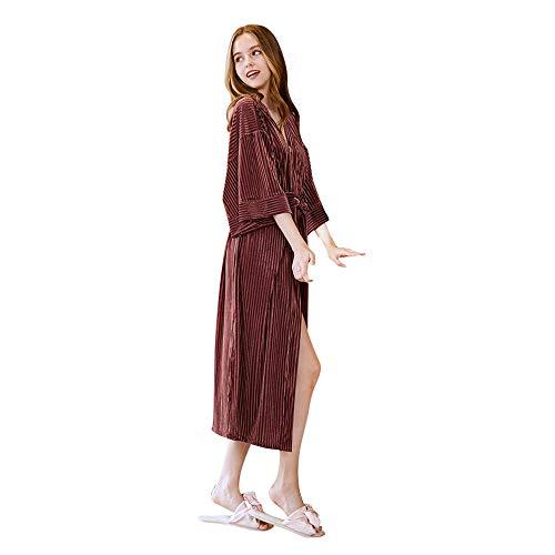 JYCRA Pigiama Thin velluto pigiama da donna autunno accappatoio vestaglia abbigliamento da notte, Poliestere, White, x-large Caramel Color