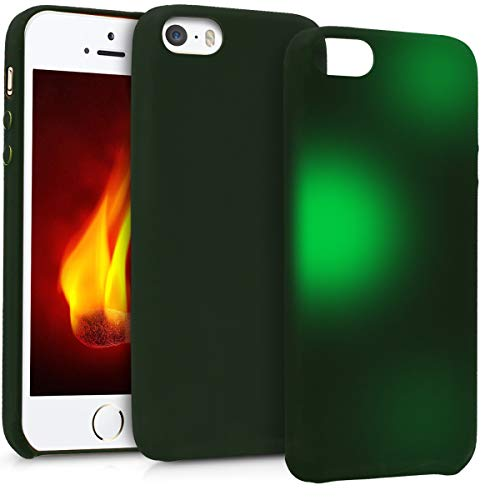kwmobile Thermal Sensor Case for Apple iPhone SE / 5 / 5S - Color Changing Fluorescent TPU Heat Sensitive Cover Black/Green
