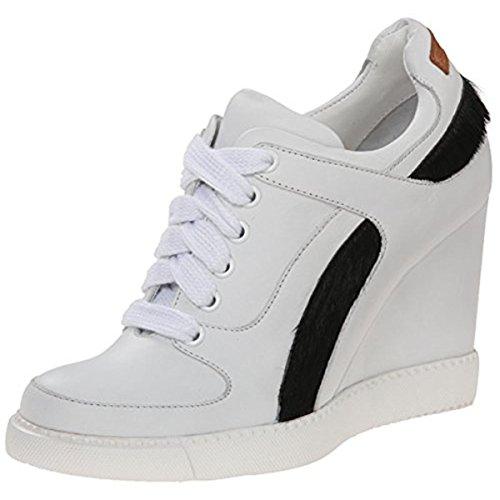 See By Chloe Women's SB25181 Fashion Sneaker, White/Black Haircalf, 38 EU/8 M US