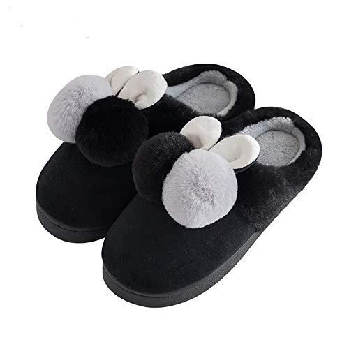 Al Ciabatte,pantofole In A Scarpe Donna Spessa Nero Da Casa Mezzo Pack Paio Fondo Coperto Di Cotone,caldo Scivolare Carino qrZrE