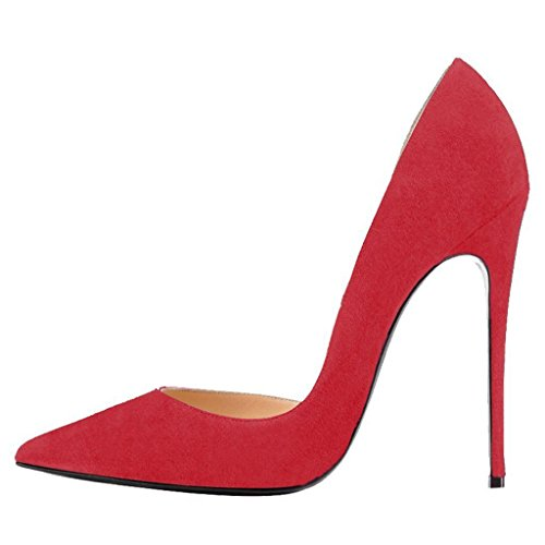 Calaier Women Caprize Pointed-Toe 12CM Stiletto Slip-on Court Shoes Red gEp2Ai