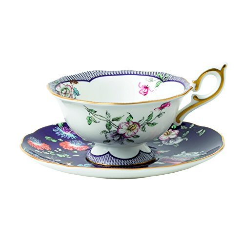 Wedgwood 40024023 Wonderlust Teacup and Saucer, 2 Piece Set, Midnight Crane (Two Cranes)