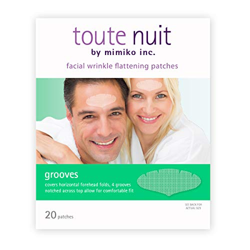 Toute Nuit Facial Wrinkle Flattening Patches, Grooves - UNISEX Extra Wide Forehead Coverage Anti-Wrinkle Patches, Face Tape - 20 Patches
