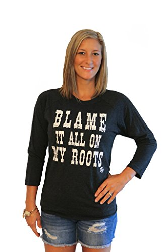 Tough Little Lady Womens Shirt Blame IT All ON My Roots White Graphic RAG Blk LG ()