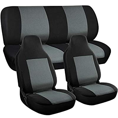 Motorup America Auto Seat Cover Full Set - Fits Select Vehicles Car Truck Van SUV - Gray & Black