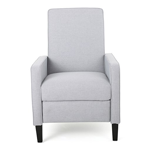 Contemporary Dalton Fabric Recliner Club Chair Solid Frame with Sturdy Feet Helps You Relax Made of Polyester Fabric (Light Grey)