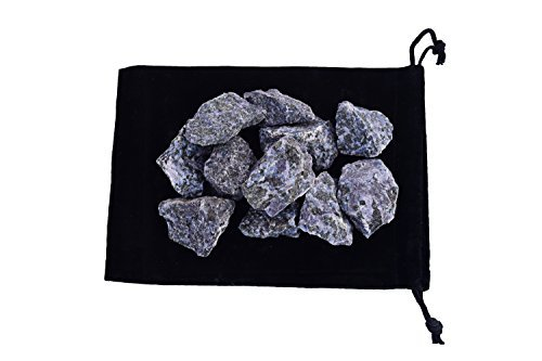 Zentron Crystal Collection 1/2 Pound Indigo Gabbro in Velvet Pouch Large Natural Rough Bulk Raw Stones for Wire Wrapping, Tumbling, Polishing, Wicca and Reiki