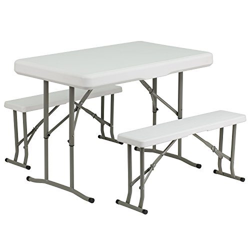 - Flash Furniture Plastic Folding Table and Bench Set