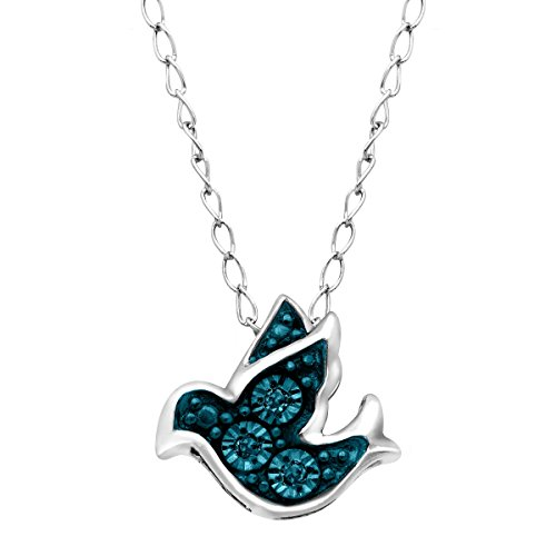 (Teeny Tiny Bird Pendant Necklace with Blue Diamonds in Sterling Silver)