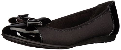 Anne Klein Womens Alphia Black Fabric Ballet Flat
