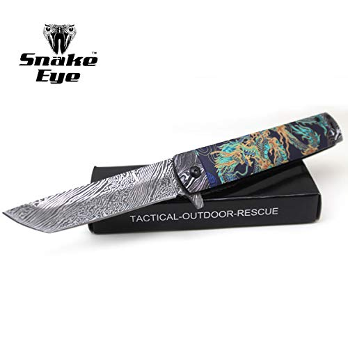 (Snake Eye Tactical Every Day Carry Folding Knife | Outdoor Survival Pocket Knife | Small one-Hand Knife Made of Stainless Steel Blade| Ideal for Recreational Work Hiking Camping (Green Dragon))