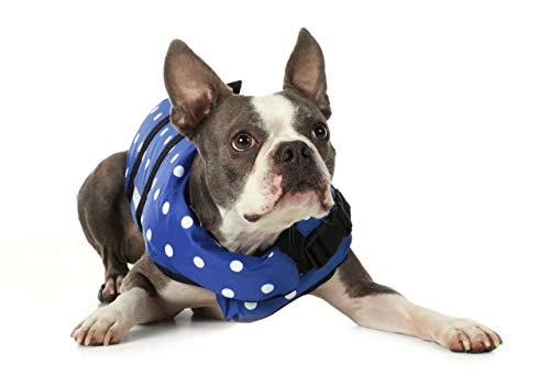 Seachoice 86260 Dog Life Vest - Adjustable Life Jacket for Dogs, with Grab Handle, Blue Polka Dot, Size XXS, up to 6 ()