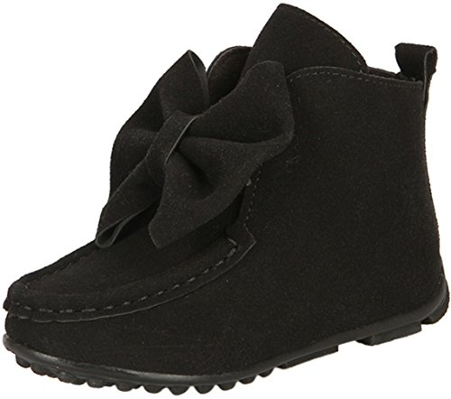 PPXID Girl's Lovely Bownot Suede Fur Inner Snow Boots(Toddler/Little Kid)-Black 12.5 US Size (Suede Fur Winter Kids Boot)