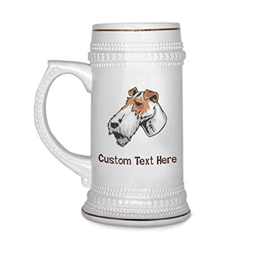 Custom Beer Mug Fox Terrier Wire Head Ceramic Drinking Glasses Beer Gifts White 18 OZ Personalized Text Here