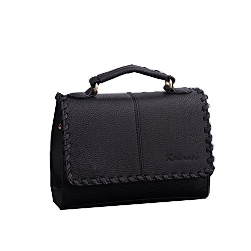 Fczero Hb10095 Pu Leather Handbag For Women Korean Version & Fashion Polyester Cover Bags Black