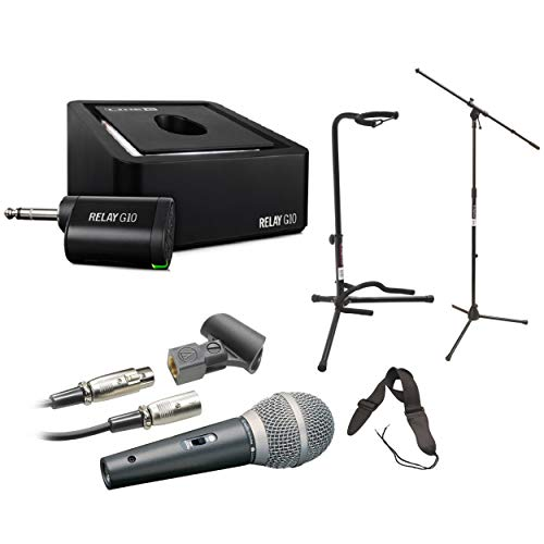 - Line 6 Relay G10 Digital Wireless Guitar System with Audio-Technica Cardioid Dynamic Vocal/Instrument Microphone, Mic Stand, Guitar Stand and Guitar Strap