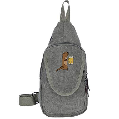 Sea Otter Drinking Beer Canvas Chest Bag, Sling Bag Shoulder Bag Crossbody Bags Casual Bag For Men & ()