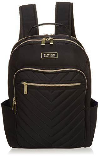 Kenneth Cole Reaction Chelsea Women's Chevron Quilted 15-Inch Laptop & Tablet Fashion Travel Backpack, Black, One Size