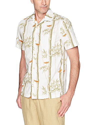 28 Palms Men's Standard-Fit 100% Cotton Tropical Hawaiian Shirt, White/Tan Bamboo, XX-Large