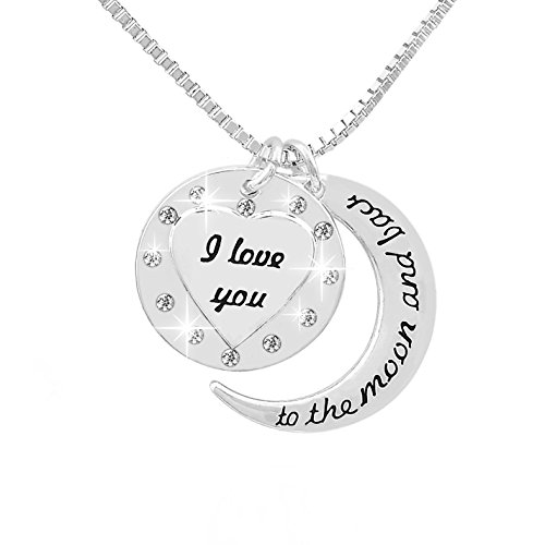 VueJoli I Love You to The Moon and Back Necklace w/Engraved Heart Pendant with Jewels for Girl Friend, Gift for Wife, Mom, Daughter, Friend. 20 Chain