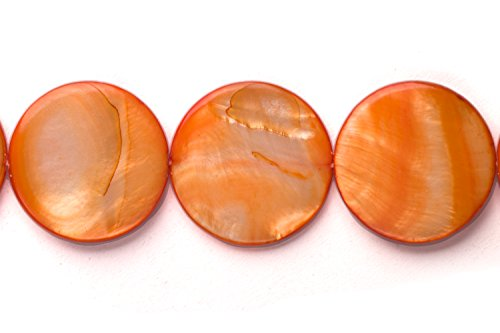 - Orange Mother-Of-Pearl Round Plate Shell Beads Size:20x20mm