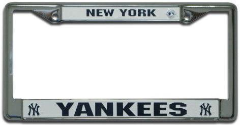 License Plate Frame Chrome - MLB Baseball - New York Yankees
