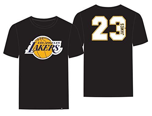 James T-shirt Adult - '47 Los Angeles Lakers Lebron James Brand Black Super Rival Jersey T-Shirt (X-Large)