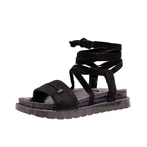 Calfskin Wedges - Sandals for Women Fzitimx Women's Sandals Open Toe Flats Thick Cross Cross Strap Calfskin Sandals