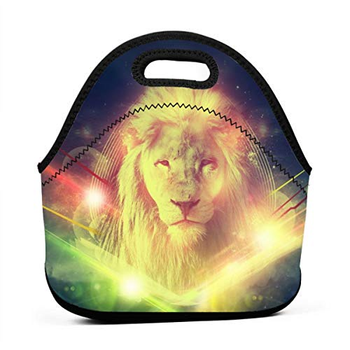 LKJDAD Jamaican Rock Vocal Lion Lunch Bag, Thick Insulated Lunchbox Bags,Tote Box with Zipper Closure for Kid Travel Picnic Office (School Rock Vocals)