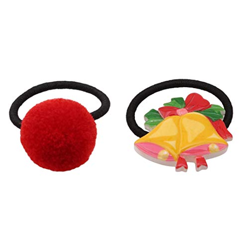 4 Baby Rope Pair Christmas For Hair Multi Ball Kids Stylish Joofff Circle Color Bell Ring Head Double Red tB7qSRw