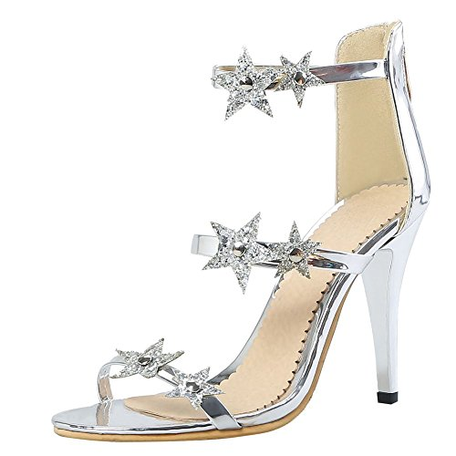 Carolbar Women's Sexy Chic Decorations High Heel Zip Dress Sandals Silver SG0eIjtS