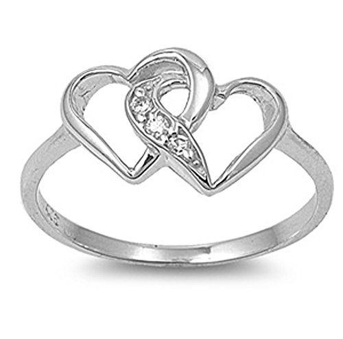 Double Heart Ring (VE-01233 Sterling Silver Double Heart CZ Ring (6))