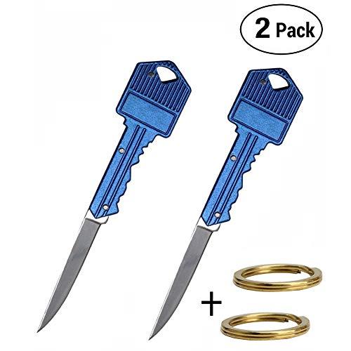 VIOLET JEWELLERY 2 Pack Folding Knife Keychain, Folding Pocket Knife with Durable Brass Key Rings (Blue)