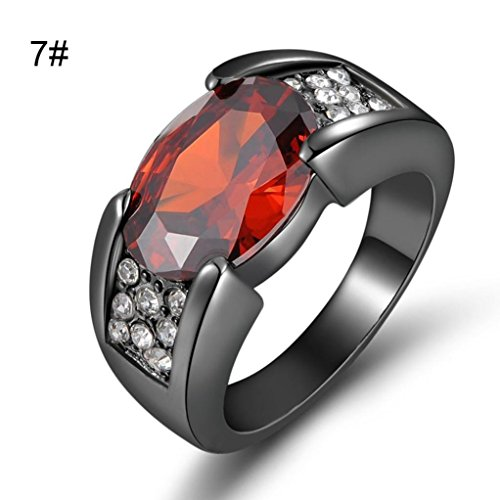 (iLH Ruby Rings,Natural Ruby Gemstones Birthstone Rings Engagement Wedding Rings Jewelry Gift ZYooh (Silver, 7))
