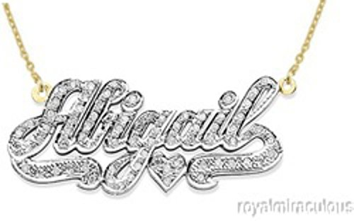 Rylos Personalized 1/4 Carat Diamond Nameplate Necklace 14K 14K White or 14K Yellow Gold. Special Order, Made to Order. ()