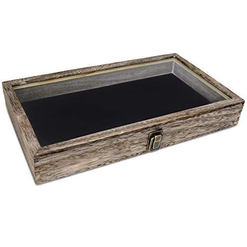 - Mooca Wooden Jewelry Display case with Tempered Glass Top Lid, Coffee Color