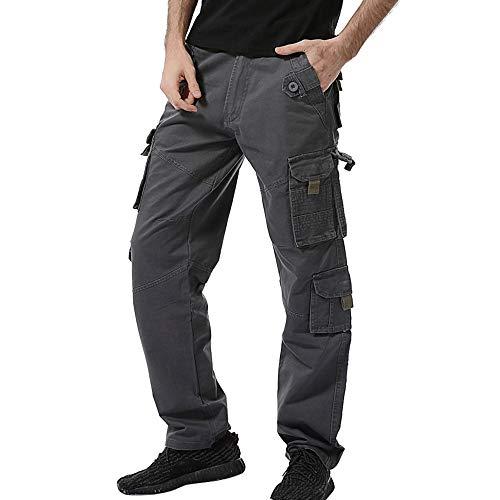 POHOK Men's Trouser Clearance!Multi-pocket Trouser Cotton Outdoors Work Cargo Long Pants