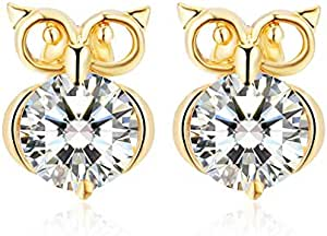 Women Charm Jewerly Rose Gold Plated Stud Special Cute Owl Earrings