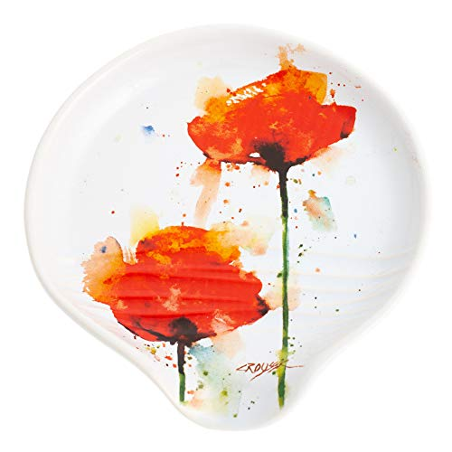 Dean Crouser Poppy Flower Floral Watercolor Red 5 x 5 Glossy Ceramic Stoneware Spoon Rest