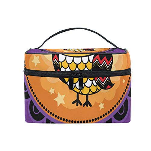 OREZI Halloween With Owl Cosmetic Bag Large Multifunction Makeup Travel Toiletry Travel Kit Organizer Case with Quality Zipper Portable for Makeup Bag for Women ()