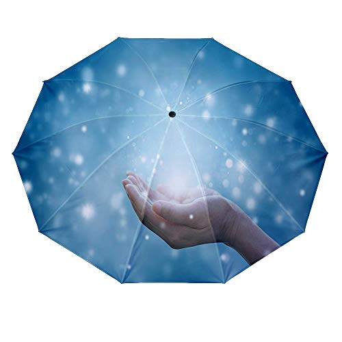 - 10 ribs multi-function automatic on/off - sun protection - rainproof - windproof umbrella, theme - Hands of a woman respecting and praying on blue background